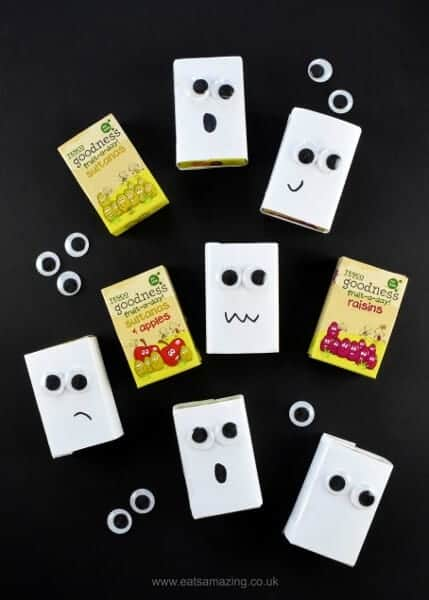 Halloween Fun Food Idea - Ghost raisin boxes - perfect for Halloween party food snacks and trick or treaters - Eats Amazing UK