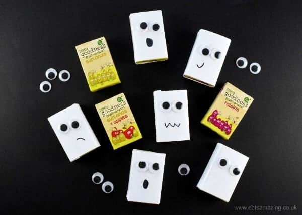 How to make ghost raisin boxes - fun and healthy halloween food idea - perfect for Halloween party food snacks lunch boxes and trick or treaters - Eats Amazing UK