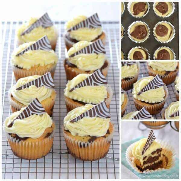How to make zebra cupcakes - delicious vanilla and chocolate cupcake recipe with zebra stripes inside and out - Eats Amazing UK