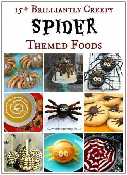 More than 15 Awesome Spider Themed Food Ideas for Halloween - great for party food - fun food for kids from Eats Amazing UK