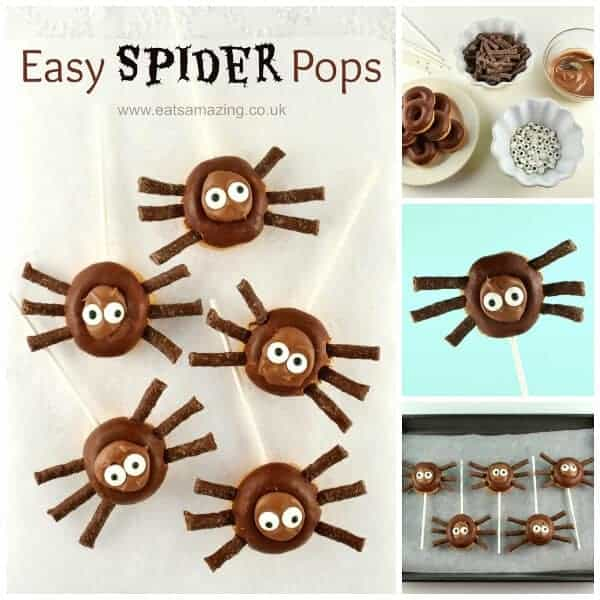 Quick and easy Mini Donut Spider Pops - cute treat idea for Halloween - perfect for Halloween party food - Eats Amazing UK