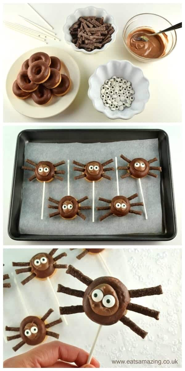 Quick and easy Mini Donut Spider Pops - fun treat idea for Halloween - perfect for Halloween party food - Eats Amazing UK
