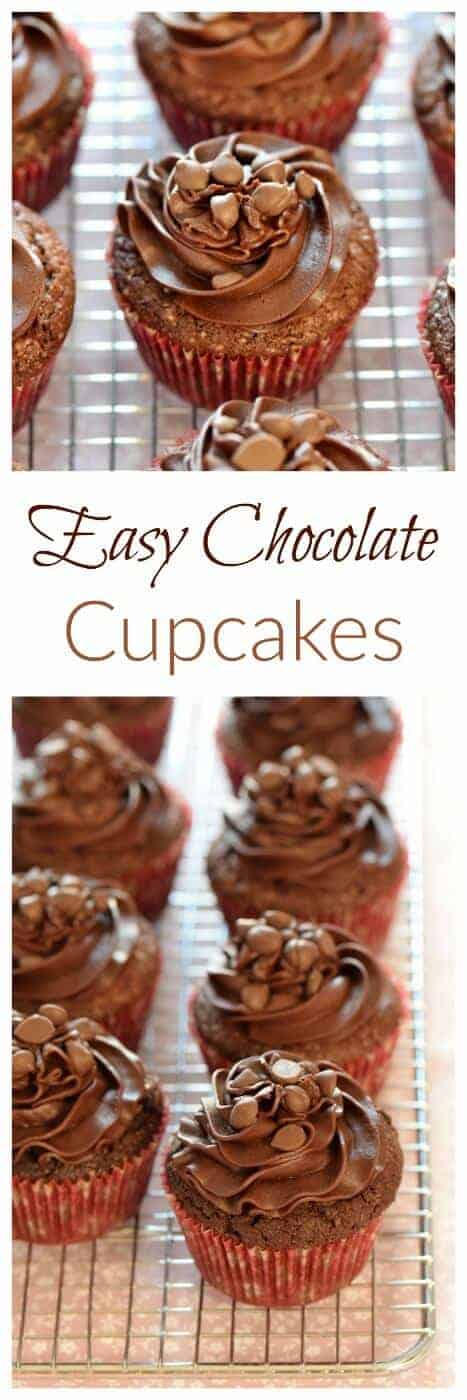 Quick and easy chocolate cupcakes recipe with chocolate buttercream icing and a chocolate melting middle - Eats Amazing UK