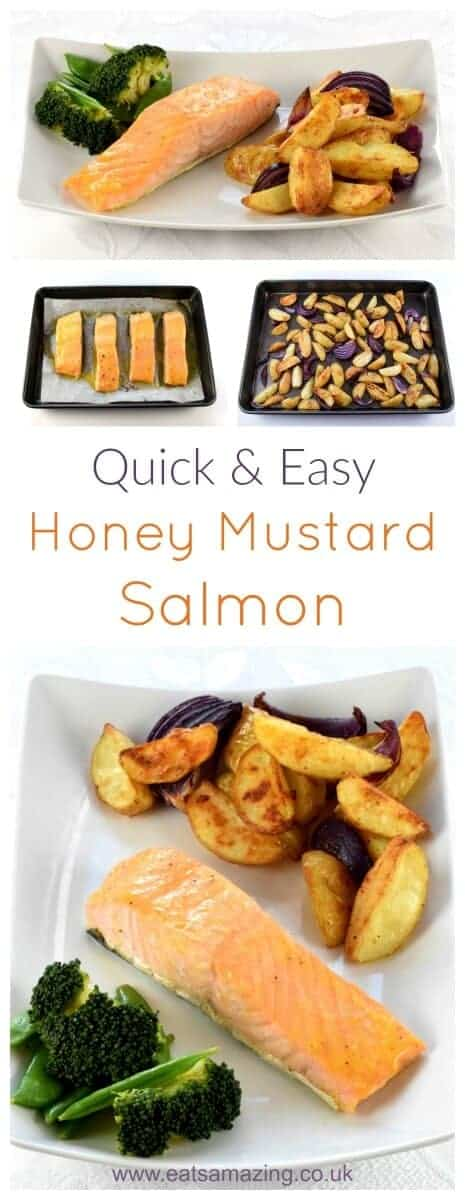 Quick and easy oven baked honey mustard salmon fillets recipe with homemade potato wedges - great kid friendly mid-week family meal idea from Eats Amazing UK