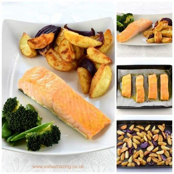 Honey mustard salmon fillets recipe eats amazing really quick and easy oven baked honey mustard salmon fillets recipe with homemade potato wedges ccuart Image collections