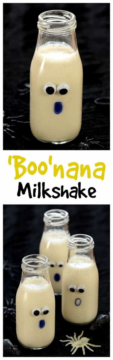 Simple homemade banana milkshake recipe for kids with no refined sugar - perfect for a fun and healthy Halloween breakfast - Eats Amazing UK