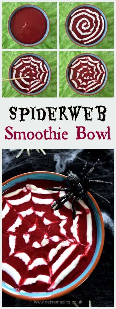 Simple spider web smoothie bowl for Halloween - fun and healthy Halloween food ideas for kids from Eats Amazing UK