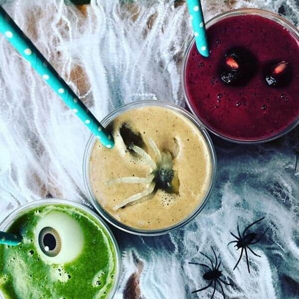 Trio of Halloween smoothie recipes - Fun and healthy Halloween drinks for kids from whole family food