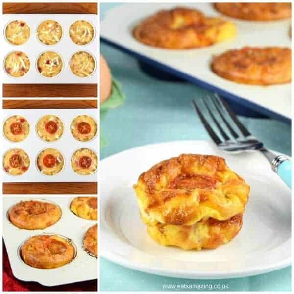 Cooking with kids - easy cheese and tomato omelette muffins recipe with free printable recipe sheet - Eats Amazing UK