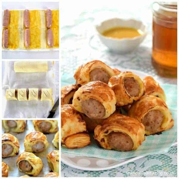 Easy 5 ingredient honey mustard sausage rolls - a fab easy recipe for kids to make and perfect party food too - cheats sausage rolls recipe from Eats Amazing UK