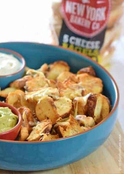 Easy Cheesy Bagel Chip Nachos recipe - awesome party food idea for kids and adults too from Eats Amazing UK