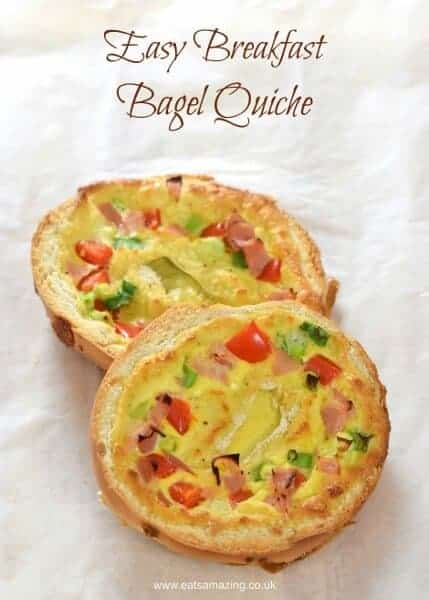 Easy breakfast bagel quiche - a yummy healthy breakfast idea that is also perfect for packing in lunch boxes - Eats Amazing UK