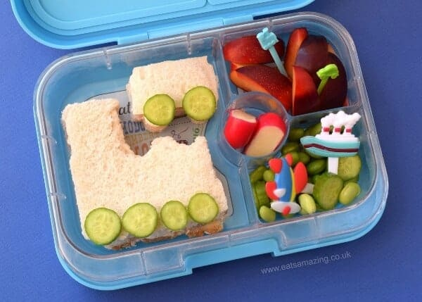 Easy transport themed lunch with train sandwich - kids will love this fun lunch - Eats Amazing UK