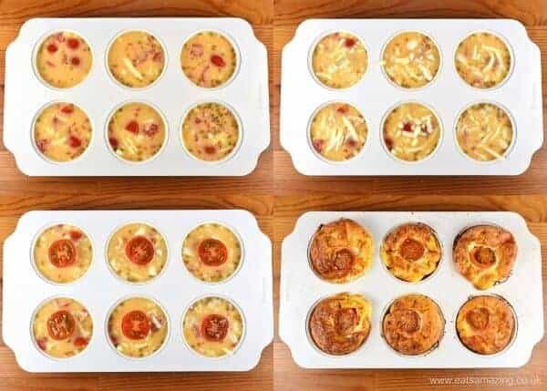 How to make easy cheese and tomato omelette muffins recipe with free printable recipe sheet for kids - Eats Amazing UK