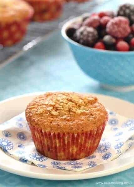 Quick and easy breafast oat and berry muffins recipe made with frozen fruit straight from the freezer from Eats Amazing UK