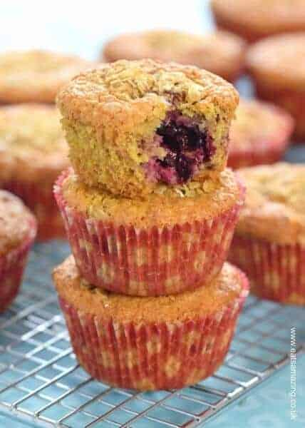 Quick and easy oat and berry breakfast muffins recipe made with frozen fruit straight from the freezer - Eats Amazing UK