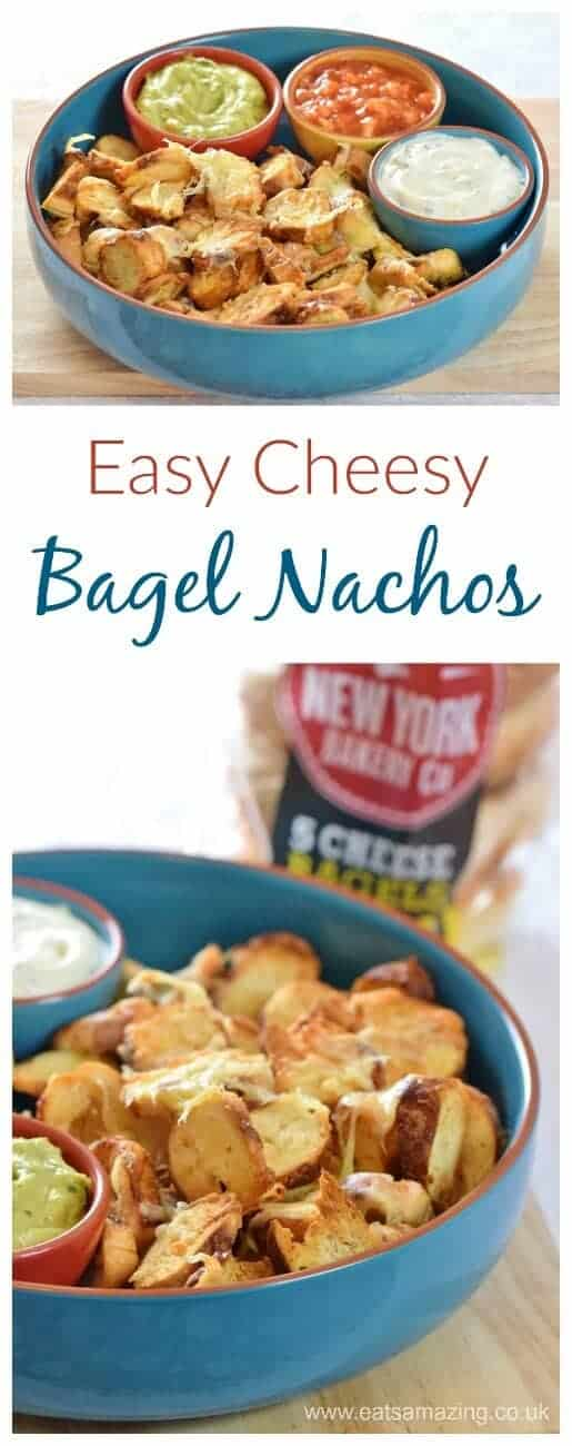 Turn bagel chips into Easy Cheesy Bagel Nachos - they make the best party food for kids and adults too - with written and video recipe from Eats Amazing UK