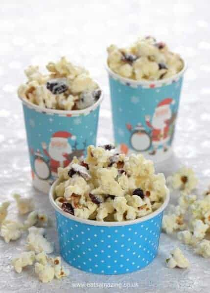 Cranberry White Chocolate Popcorn Recipe - Easy treat that is perfect for a festive movie night - Eats Amazing UK