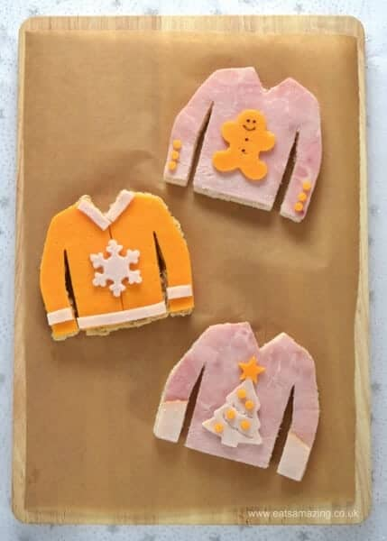 Cute Christmas Jumper sandwiches - perfect for an ugly sweater party - fun food for kids from Eats Amazing UK