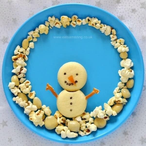 Cute and easy Snowman Snack Plate for Kids - part of the Christmas fun food advent calendar from Eats Amazing UK