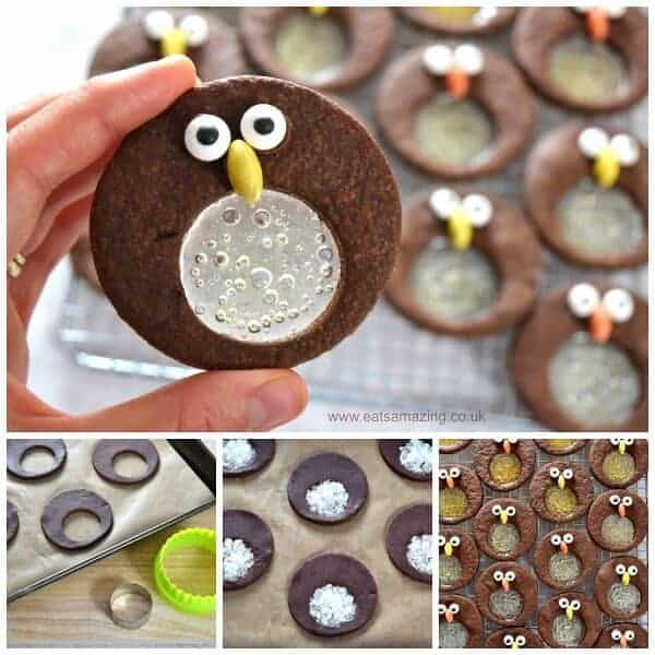 Cute and easy chocolate mint penguin stained glass cookies recipe - fun food idea for kids this Christmas - Eats Amazing