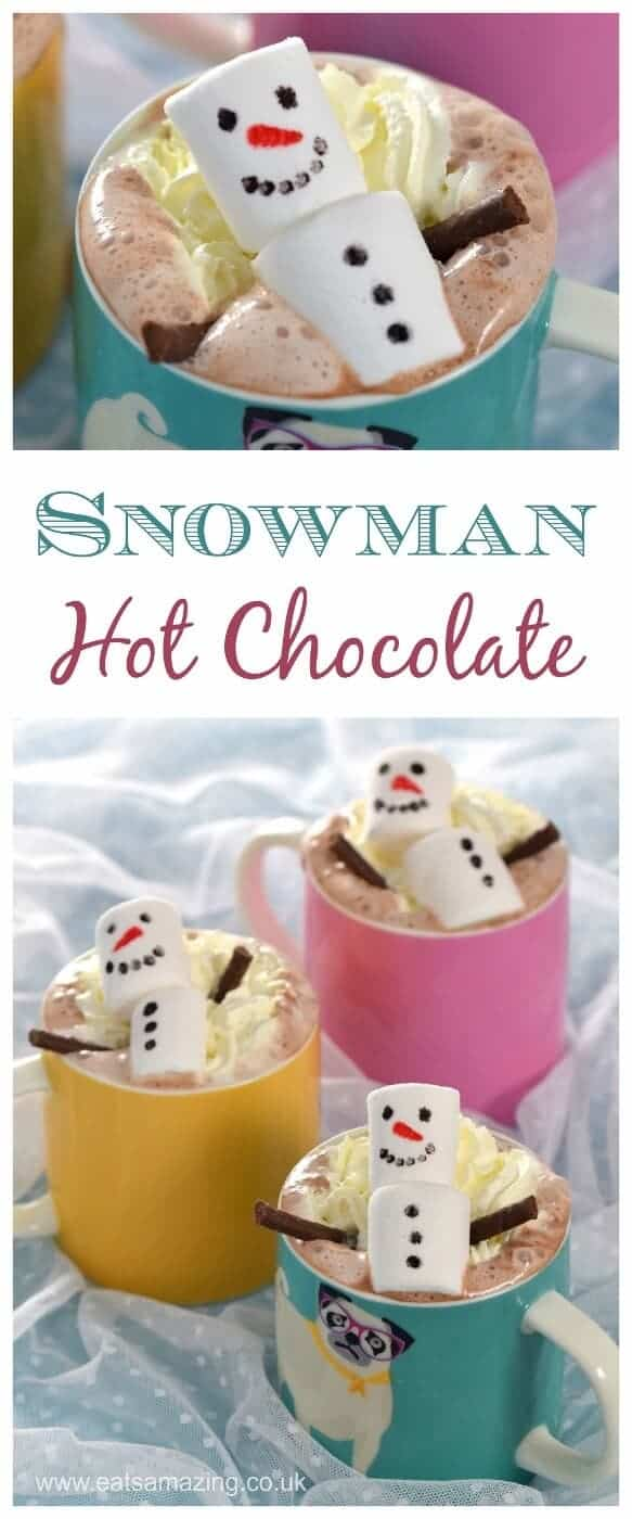 Cute and easy snowman homemade hot chocolate - fun food for kids from Eats Amazing UK - perfect for Christmas #hotchocolate #snowman #marshmallow #cutefood #foodart #funfood #kidsfood #edibleart #Christmas #ChristmasFood #festivefood #easyrecipe #winterfood