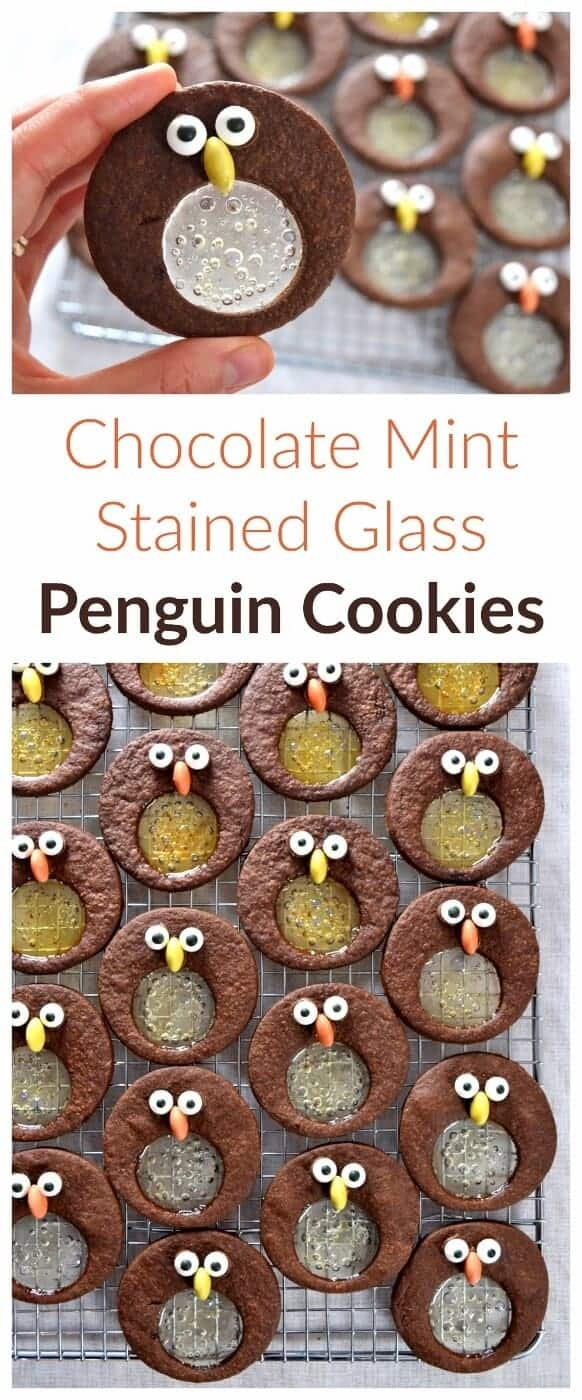 Cute chocolate and mint penguin stained glass cookies recipe - fun food idea for kids this Christmas - Eats Amazing #funfood #foodart #edibleart #cookies #cookieart #cookiedecorating #penguin #penguins #kidsfood #Christmasfood #christmascookies #christmascookierecipes