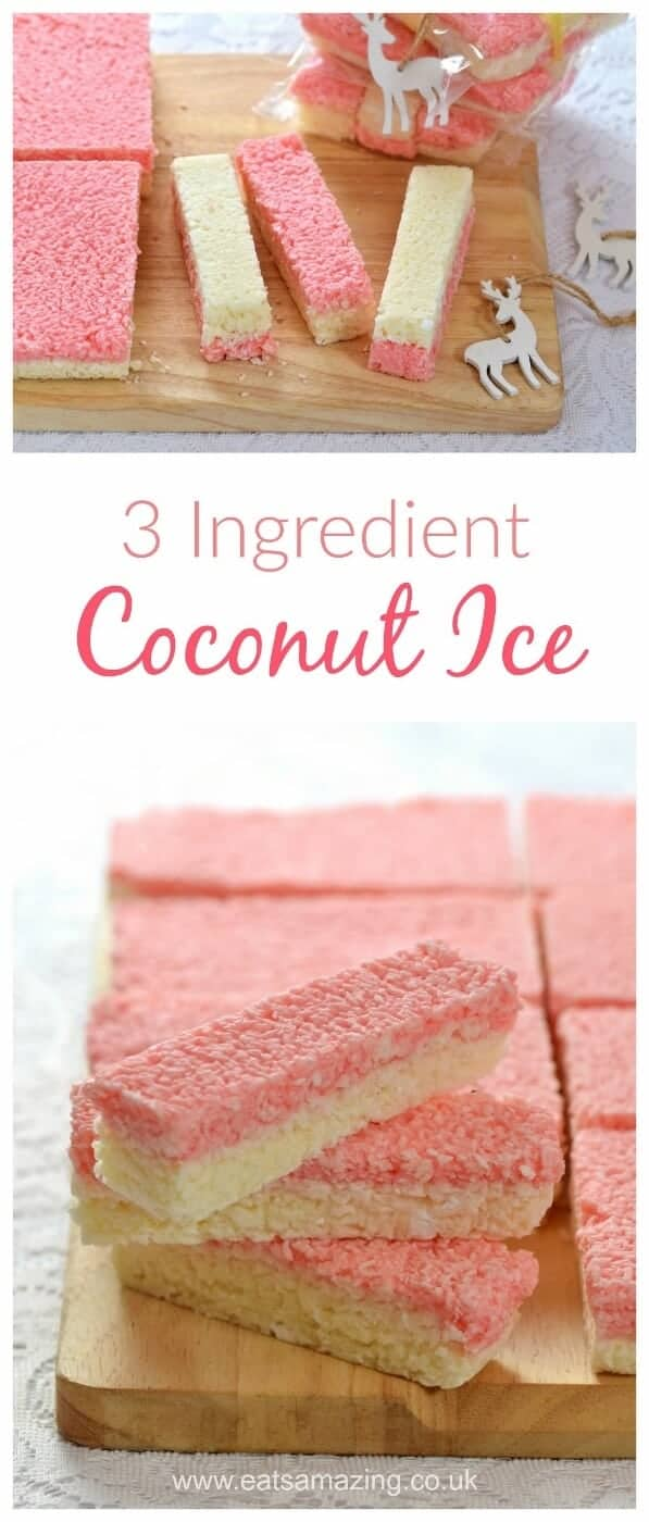 Easy Coconut Ice recipe - Just 3 ingredients to make this delicious treat - homemade gift idea from Eats Amazing UK #easyrecipe #giftideas #diygift #christmasgifts #christmasgiftideas #coconut #sweettooth #treats