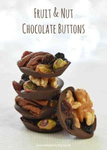 Easy Fruit and Nut Chocolate Buttons Recipe - great idea for homemade Christmas gifts kids can make - Eats Amazing UK