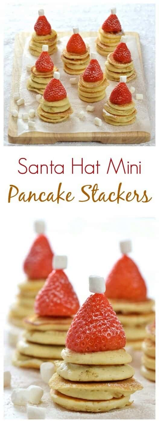 Easy Santa Hat Mini Pancake Stackers recipe - a fun and healthy Christmas breakfast idea for kids from Eats Amazing UK #Christmas #christmasfood #breakfast #pancakes #Santa #funfood #kidsfood #foodart #christmas2017 #festive #festivefood #fatherchristmas #easyrecipe #healthykids