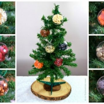 Easy fun snack idea for Christmas - use fillable baubles for a Christmas treasure hunt - with a list of snack food ideas from Eats Amazing UK