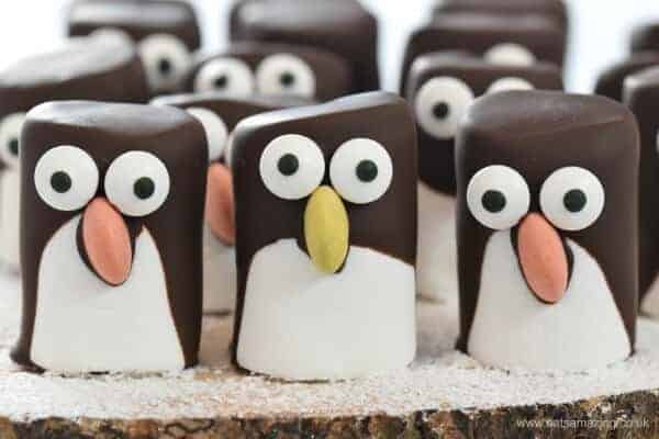 Easy marshmallow penguins - fun penguin themed food idea for kids from Eats Amazing UK