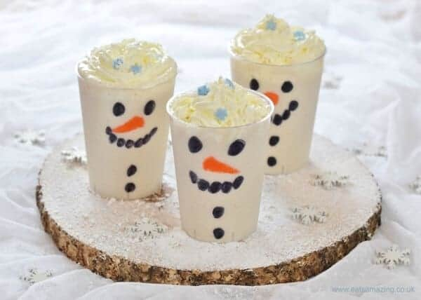 Easy snowman smoothies - fun and healthy Christmas drink that kids will love - Eats Amazing UK