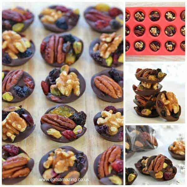 Eats Amazing UK -Easy Fruit and Nut Chocolate Buttons Recipe - great idea for homemade Christmas gifts kids can make