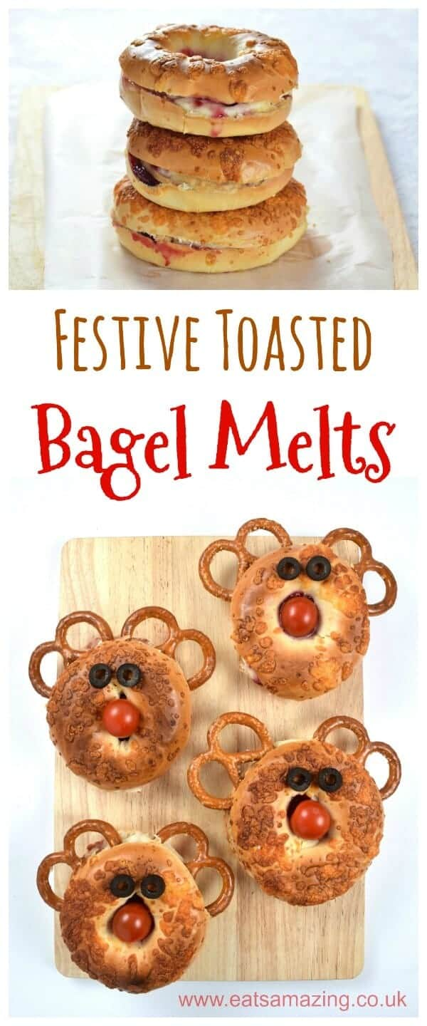Festive Toasted Bagel Melts recipe - including a fun reindeer bagel version - fun Christmas food for kids from Eats Amazing UK #kidsfood #funfood #foodart #edibleart #reindeer #rudolph #Christmas #Christmasfood #Christmasparty #bagel #partyfood #partyfood #festivefood
