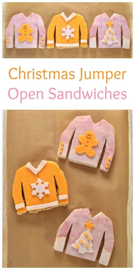 Fun Christmas Jumper sandwiches - perfect for an ugly sweater party - fun food for kids from Eats Amazing UK #christmas #christmasjumper #uglysweater #sandwiches #sandwichart #funfood #kidsfood #cutefood #foodart #edibleart #cookingwithkids #healthykids #partyfood