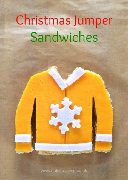 Fun and easy Christmas Jumper sandwiches - perfect for an ugly sweater party - fun food for kids from Eats Amazing UK