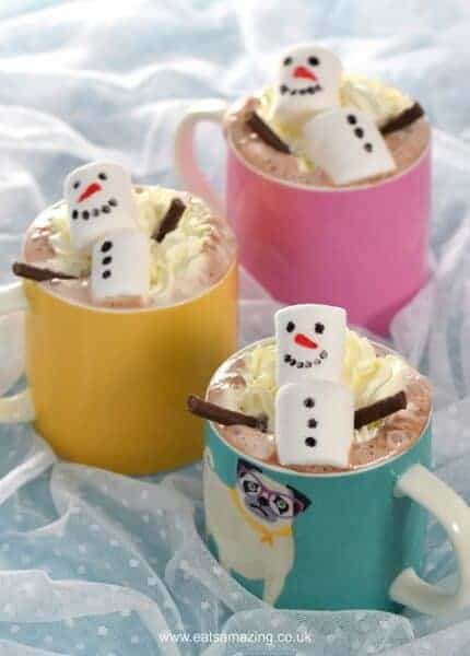 Fun and easy snowman homemade hot chocolate - cute Christmas food for kids - perfect for a North Pole Breakfast - Eats Amazing UK