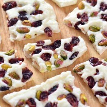 Cranberry Pistachio Frozen Yogurt Bark Recipe