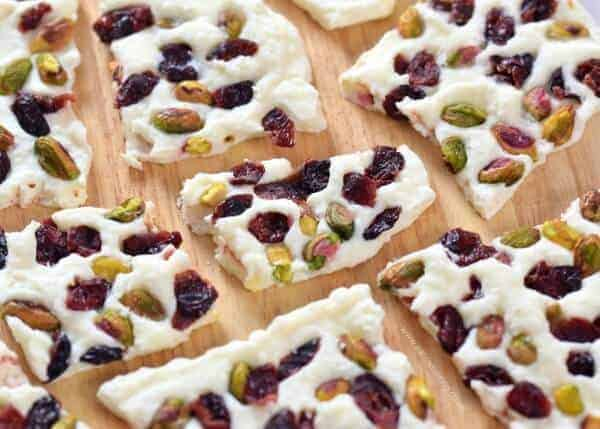 Healthy Cranberry Pistachio Yogurt Bark - easy healthy snack the whole family will love from Eats Amazing UK