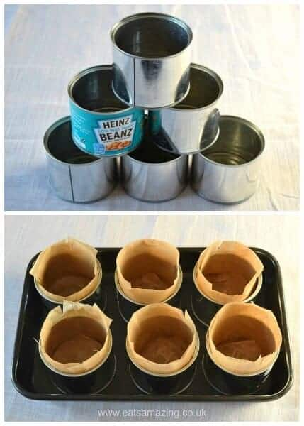 How to bake mini Christmas cakes in baked bean tins - easy recipe and instructions from Eats Amazing UK