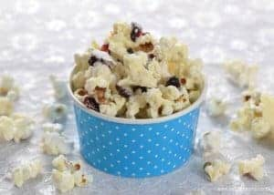 How to make Cranberry White Chocolate Popcorn - Easy popcorn recipe that is perfect for a festive family movie night - Eats Amazing UK