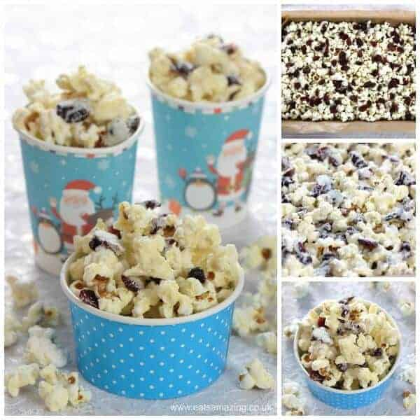 How to make Cranberry White Chocolate Popcorn - Easy treat recipe that is perfect for a festive family movie night - Eats Amazing UK
