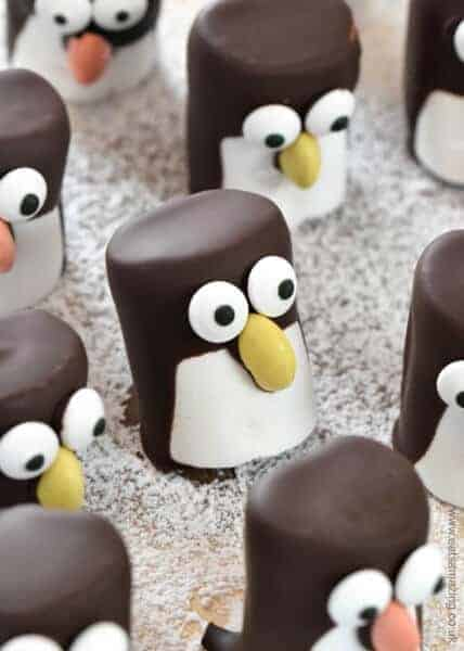 How to make easy marshmallow penguins - cute Christmas food idea for kids - they make great party food treats - Eats Amazing UK