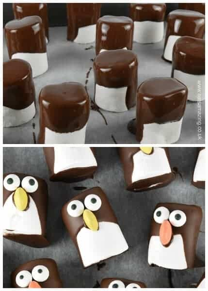 How to make marshmallow penguins - cute Christmas food idea for kids - they make great party food treats - Eats Amazing UK