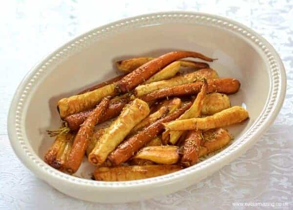 Maple roasted carrots and parnsips - easy baby friendly side dishes the whole family can eat - for a stress free Christmas dinner - Eats Amazing UK