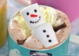 Homemade Hot Chocolate with Snowman Marshmallows