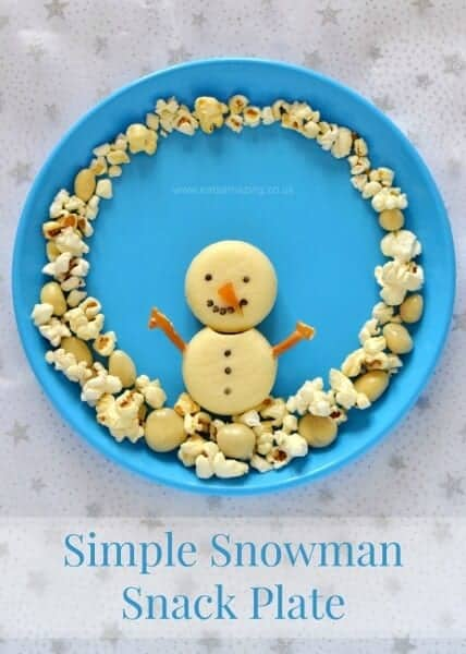 Quick and easy Snowman Snack Plate for Kids - part of the Christmas fun food advent calendar from Eats Amazing UK