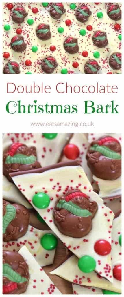 Quick and easy double chocolate Christmas bark recipe - easy homemade gift idea that kids can make from Eats Amazing UK #Christmas #christmasfood #christmasgifts #christmasgiftideas #ediblegifts #chocolate #chocolatebark #easyrecipe #cookingwithkids #kidsfood #funfood #giftideas #diygift
