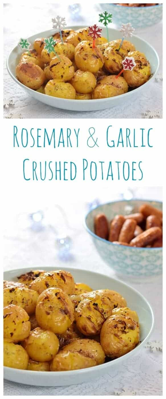 Rosemary and Garlic Crushed Potatoes recipe - a gorgeous easy party food idea and the perfect side dish for a roast too - Eats Amazing UK